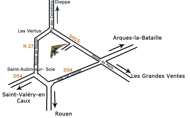 plan d'accès aérodrome dieppe Saint Aubin